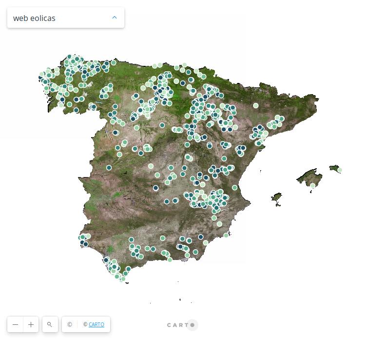 Mapa generación eólica España