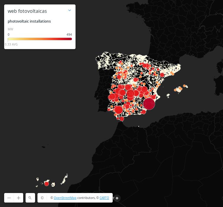 Mapa generación fotovoltaica España