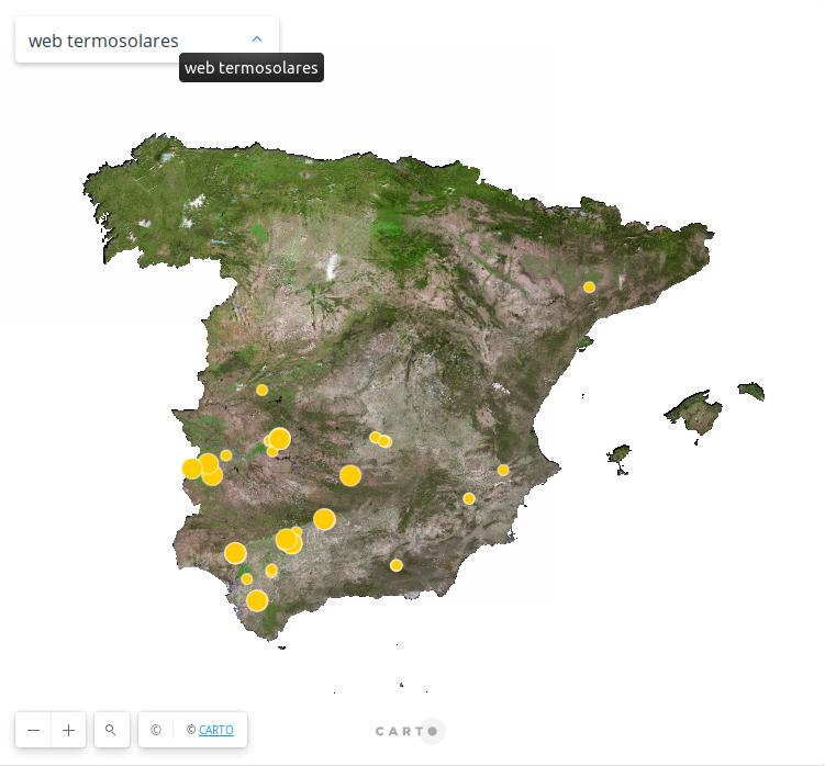 Mapa generación termosolar península